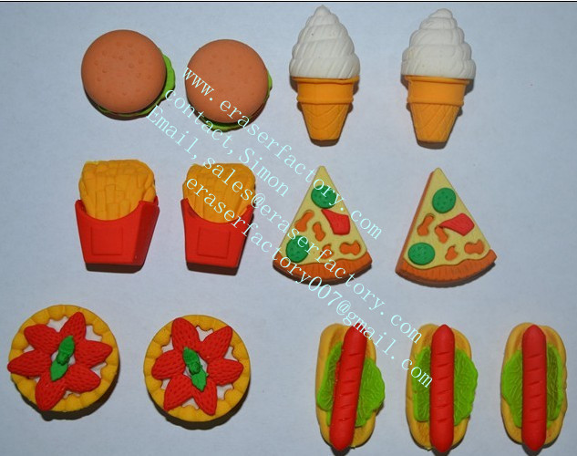 3D food erasers assortment