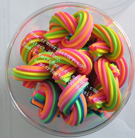 colorful twisted erasers