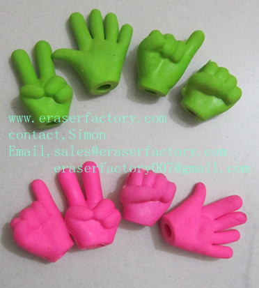 LX002  Children Assorted Color 4 Kinds Gestures Finger Erasers