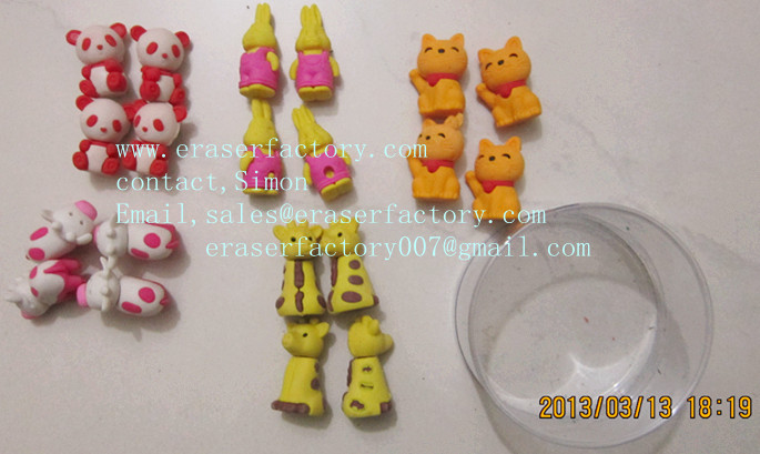 LX005  cartoon animal puzzle erasers