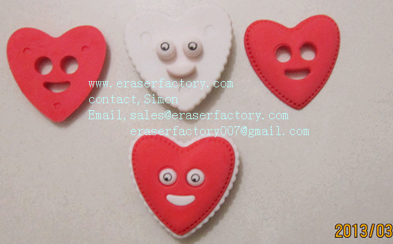 LXU7  smile heart erasers