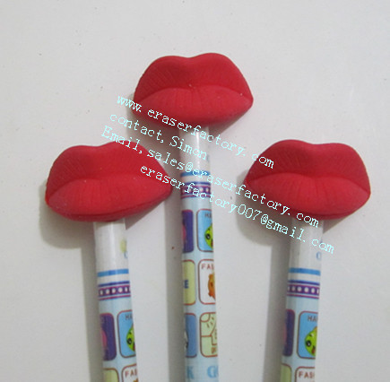 LXU8  novelty lips pencil toppers