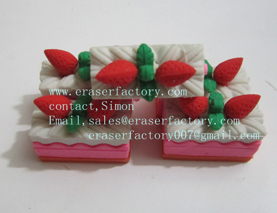 LXF27  rectanglar strawberry cake erasers