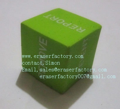 LXP21  Six surface printing green cubic erasers