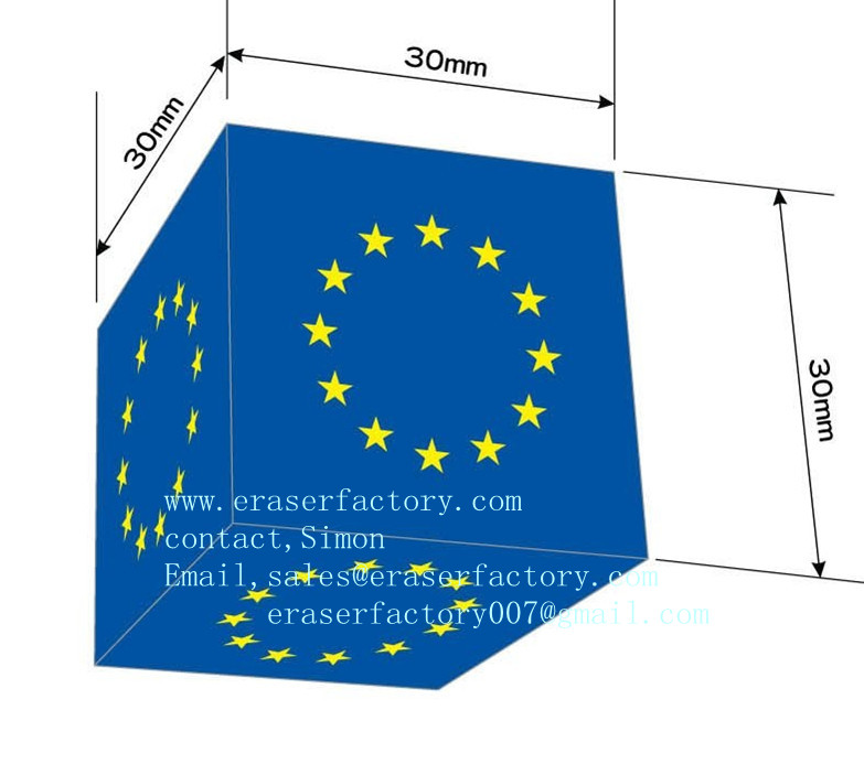 LXP22   Cubic Office Eraser with EU stars printing