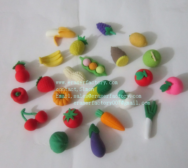 Fruit&Vegetable Erasers Assort.