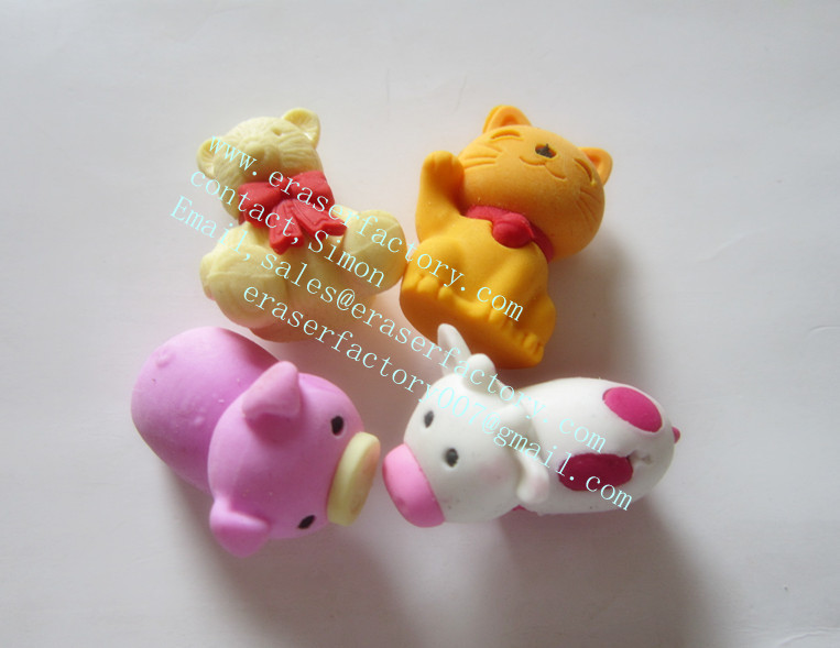 LXS38  animals erasers 3d 4 kinds set