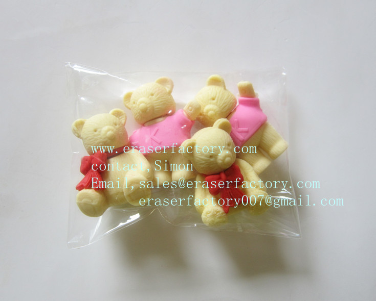 LXS79  Childish Teddy Bears 3D erasers