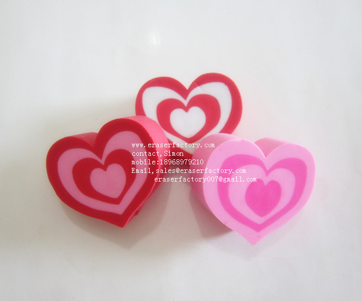 LXU136  multiple heart erasers